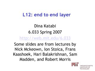 L12: end to end layer