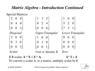 Matrix Algebra - Introduction Continued