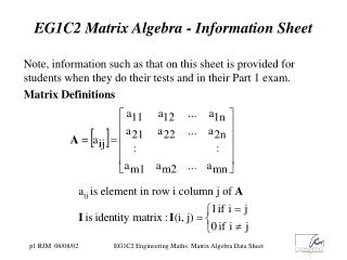 EG1C2 Matrix Algebra - Information Sheet