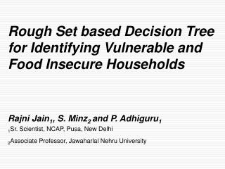 Rough Set based Decision Tree for Identifying Vulnerable and Food Insecure Households
