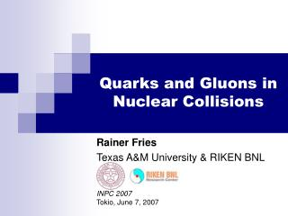 Quarks and Gluons in Nuclear Collisions