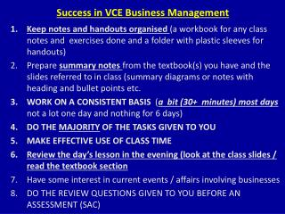 Success in VCE Business Management