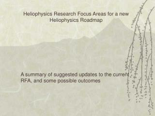 Heliophysics Research Focus Areas for a new Heliophysics Roadmap