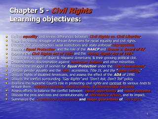 Chapter 5 -  Civil Rights Learning objectives: