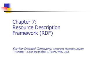 Chapter 7: Resource Description Framework (RDF)