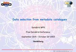 Data selection from metadata catalogues