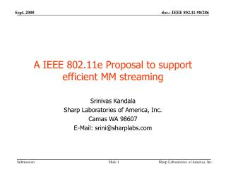 A IEEE 802.11e Proposal to support efficient MM streaming