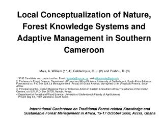 Local Conceptualization of Nature, Forest Knowledge Systems and Adaptive Management in Southern Cameroon