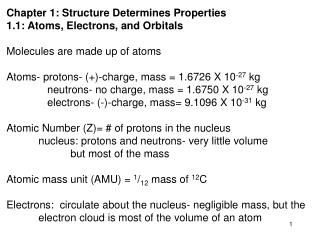 Chapter 1: Structure Determines Properties 1.1: Atoms, Electrons, and Orbitals