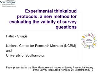 Experimental thinkaloud protocols: a new method for evaluating the validity of survey questions