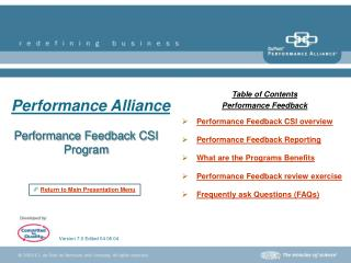 Performance Feedback CSI Program