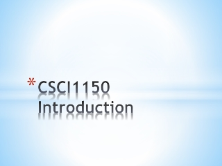 CSCI1150 Introduction