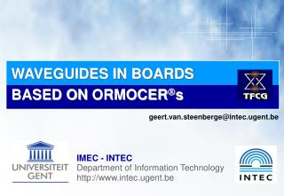 WAVEGUIDES IN BOARDS BASED ON  ORMOCER  s