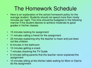 The Homework Schedule