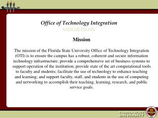 Office of Technology Integration oti.fsu