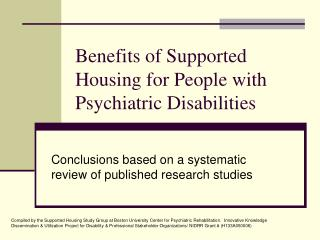 Benefits of Supported Housing for People with Psychiatric Disabilities