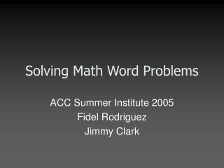 Solving Math Word Problems