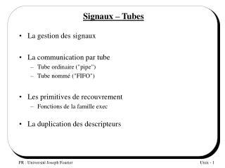 Signaux – Tubes