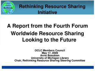 Rethinking Resource Sharing Initiative