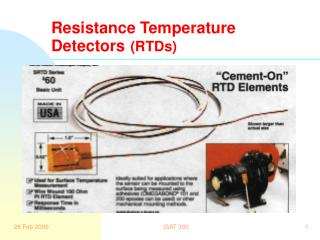 Resistance Temperature Detectors (RTDs)