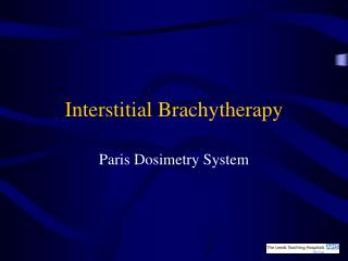 Interstitial Brachytherapy