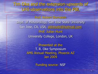 Tim Oke and the extension-upwards of  UHI-observations into the PBL