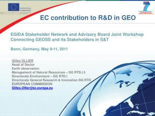 EC contribution to R&D in GEO