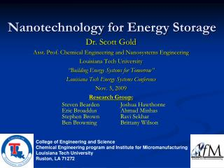 Nanotechnology for Energy Storage