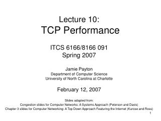 Lecture 10:  TCP Performance