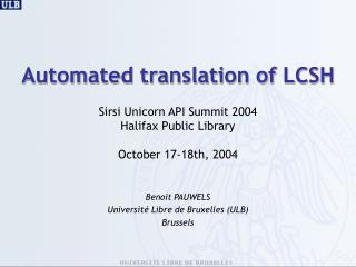 Automated translation of LCSH