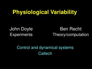 Physiological Variability
