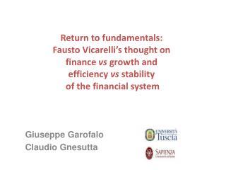 Giuseppe Garofalo Claudio Gnesutta