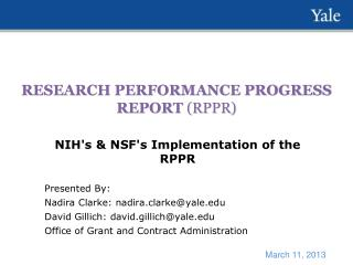 RESEARCH PERFORMANCE PROGRESS REPORT  (RPPR)