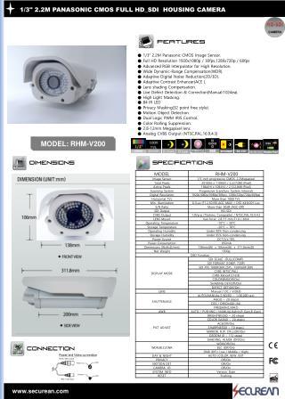 "1/3"" 2.2M PANASONIC CMOS FULL HD_SDI HOUSING CAMERA"