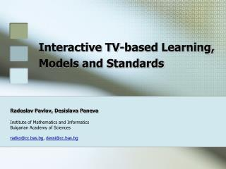 Interactive TV-based Learning, Models and Standards