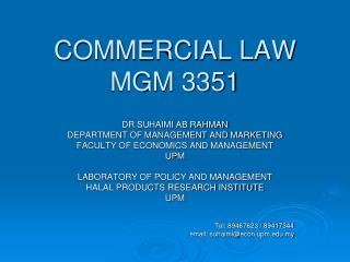 COMMERCIAL LAW  MGM 3351