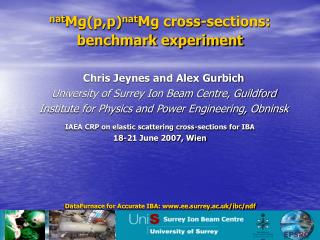 nat Mg(p,p) nat Mg cross-sections:  benchmark experiment