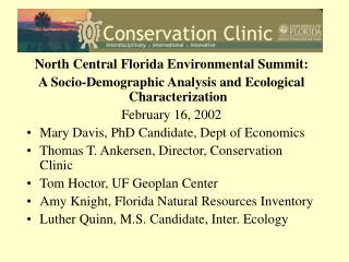 North Central Florida Environmental Summit: