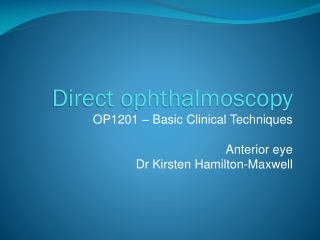 Direct Ophthalmoscopy
