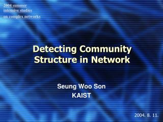 Detecting Community Structure in Network