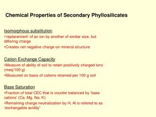 Chemical Properties of Secondary Phyllosilicates