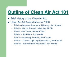 Outline of Clean Air Act 101