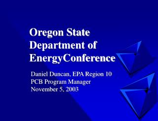Oregon State Department of EnergyConference