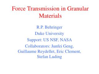 Force Transmission in Granular Materials
