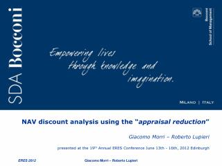 "NAV discount analysis using the "" appraisal reduction """
