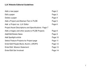 LLK Website Editorial Guidelines Add a new paper				Page 2 Edit a paper				Page 3