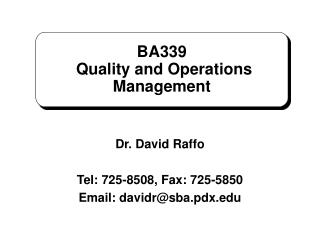 BA339  Quality and Operations Management