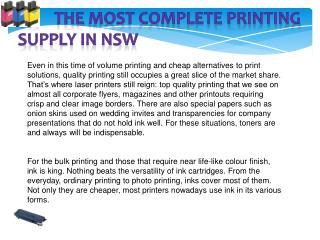 The Most Complete Printing Supply in NSW