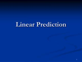 Linear Prediction