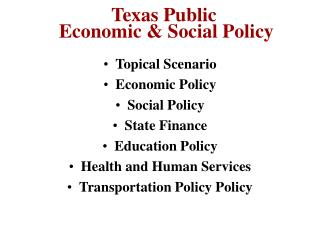 Texas Public  Economic & Social Policy
